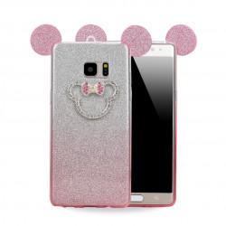 Galaxy Note FE / Note Fan Edition / Note 7 Minnie Diamond Glitter Bow Tie Case (Hot Pink)