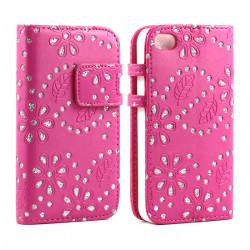 iPhone 4S 4 Diamond Flip Leather Wallet Case (Hot-Pink)