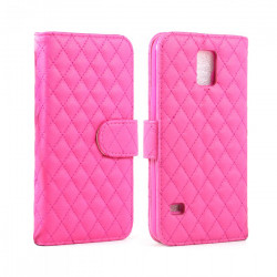 Samsung Galaxy S5 Quilted Flip Leather Wallet Case w Stand (Hot Pink)
