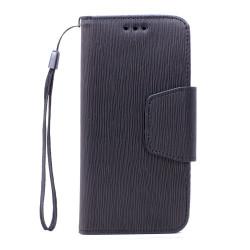 Galaxy S6 Edge Color Flip Leather Wallet Case with Strap (Black Black)