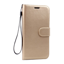 Galaxy S6 Edge Premium Flip Leather Wallet Case with Strap (Champagne Gold)
