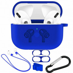 5 in 1 Accessories Kits Silicone Cover with Ear Hook Grips / Staps / Clip / Skin / Tips for [Airpods Pro] Charging Case (Navy Blue)