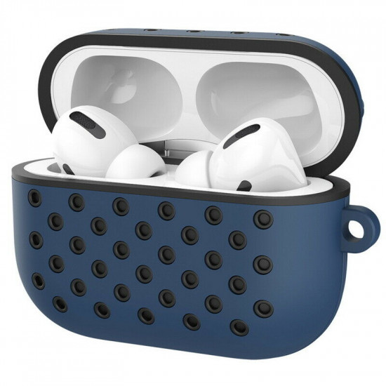 Airpod Pro Charging Case Honeycomb Mesh Sports Cover Skin with Clip (Blue Black)