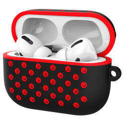 Airpod Pro Charging Case Honeycomb Mesh Sports Cover Skin with Clip (Black Red)