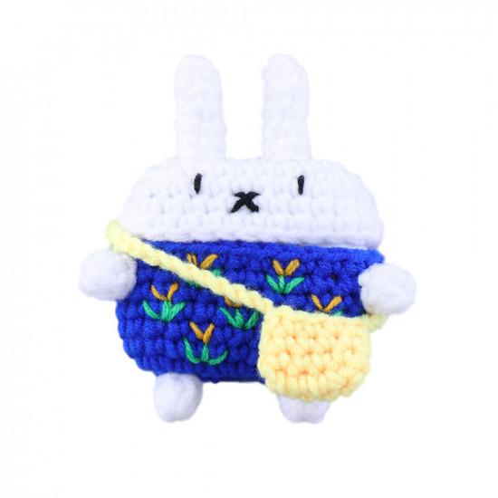 Airpod Pro Cute Design Cartoon Handcraft Wool Fabric Cover Skin (Bunny Navy Blue)