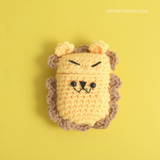 Airpod Pro Cute Design Cartoon Handcraft Wool Fabric Cover Skin (Lion)