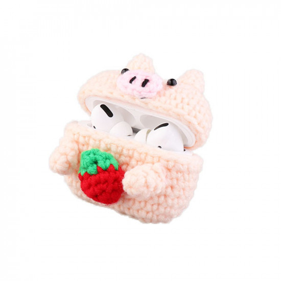 Airpod Pro Cute Design Cartoon Handcraft Wool Fabric Cover Skin (Strawberry Pig)