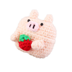 Airpod Pro Cute Design Cartoon Handcraft Wool Fabric Cover Skin (Strawberry Pig)