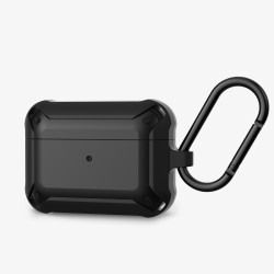 Heavy Duty Shockproof Armor Hybrid Protective Case Cover for [Apple Airpods Pro] (Black)