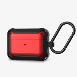 Heavy Duty Shockproof Armor Hybrid Protective Case Cover for [Apple Airpods Pro] (Red)