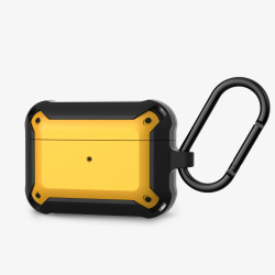 Heavy Duty Shockproof Armor Hybrid Protective Case Cover for [Apple Airpods Pro] (Yellow)