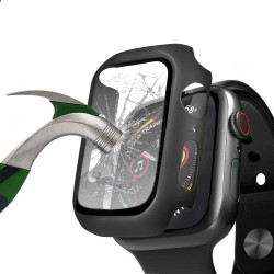 Apple Watch Series 6 / SE / 5 / 4 Hard Full Body Case with Tempered Glass 40MM (Matte Black)