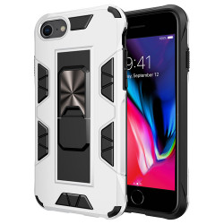 iPhone SE 2020 / 8 / 7 Military Grade Armor Protection Stand Magnetic Feature Case (White)