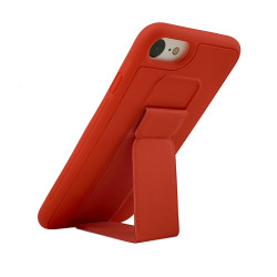 iPhone SE 2020 / 8 / 7 PU Leather Hand Grip Kickstand Case (Red)