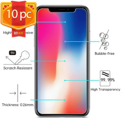 iPhone 11 (6.1in) / iPhone XR Tempered Clear Glass Screen Protector 10PC (Clear)