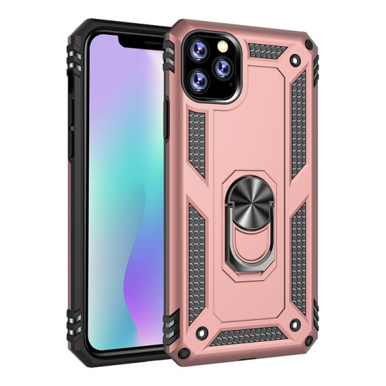 iPhone 11 (6.1in) Tech Armor Ring Grip Case with Metal Plate (Rose Gold)