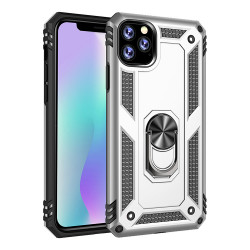 iPhone 11 (6.1in) Tech Armor Ring Grip Case with Metal Plate (Silver)