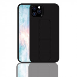 iPhone 11 6.1 PU Leather Hand Grip Kickstand Case (Black)