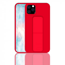 iPhone 11 6.1 PU Leather Hand Grip Kickstand Case (Red)