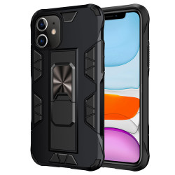 iPhone 11 6.1 Military Grade Armor Protection Stand Magnetic Feature Case (Black)