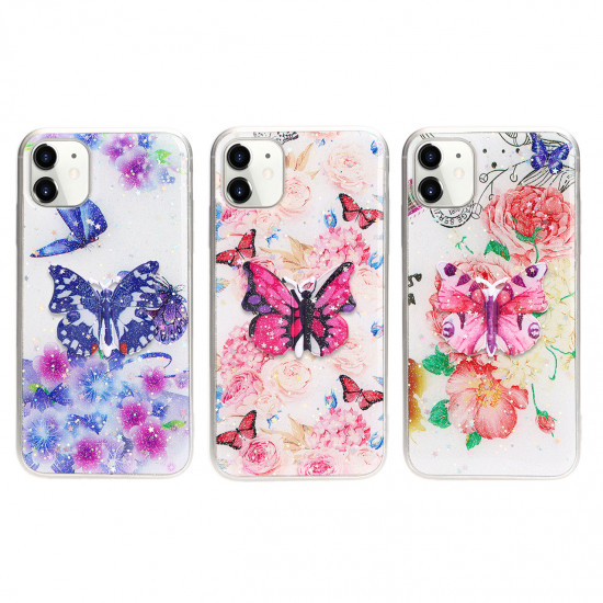 3D Butterfly Design Stand Slim Case for iPhone 12 / 12 Pro 6.1 (Purple)