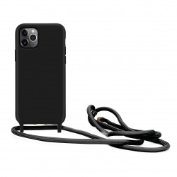 Crossbody Lanyard Neck Strap Adjustable Necklace Pro Silicone Case Bag for iPhone 12 Pro Max 6.7 (Black)