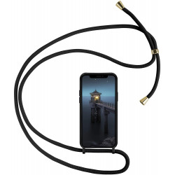 Crossbody Lanyard Neck Strap Adjustable Necklace Pro Silicone Case Bag for iPhone 12 / 12 Pro 6.1 (Black)