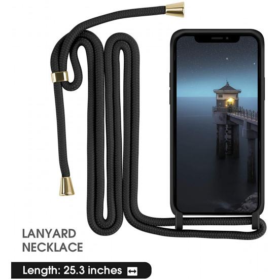 Crossbody Lanyard Neck Strap Adjustable Necklace Pro Silicone Case Bag for iPhone 12 / 12 Pro 6.1 (Black)