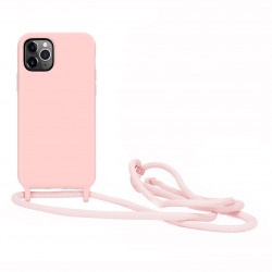 Crossbody Lanyard Neck Strap Adjustable Necklace Pro Silicone Case Bag for iPhone 12 / 12 Pro 6.1 (Pink)