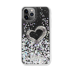 Love Heart Crystal Shiny Glitter Sparkling Jewel Case Cover for iPhone 12 Mini 5.4 (Black)
