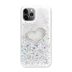 Love Heart Crystal Shiny Glitter Sparkling Jewel Case Cover for iPhone 12 Mini 5.4 (Clear)