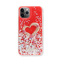 Love Heart Crystal Shiny Glitter Sparkling Jewel Case Cover for iPhone 12 Mini 5.4 (Red)