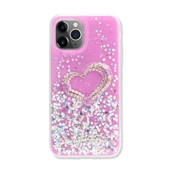 Love Heart Crystal Shiny Glitter Sparkling Jewel Case Cover for iPhone 12 Mini 5.4 (Hot Pink)