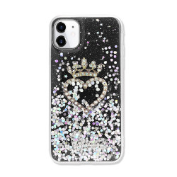 Star Crown Heart Crystal Shiny Glitter Sparkling Jewel Case Cover for iPhone 12 / 12 Pro 6.1 (Black)