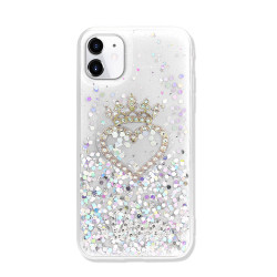 Star Crown Heart Crystal Shiny Glitter Sparkling Jewel Case Cover for iPhone 12 / 12 Pro 6.1 (Clear)