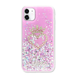 Star Crown Heart Crystal Shiny Glitter Sparkling Jewel Case Cover for iPhone 12 / 12 Pro 6.1 (Hot Pink)