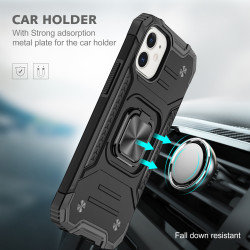 Cube Style Armor Case with Rotating Ring Holder, Kickstand and Magnetic Car Mount Plate for iPhone 12 Pro Max 6.7 (Black)