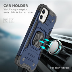 Cube Style Armor Case with Rotating Ring Holder, Kickstand and Magnetic Car Mount Plate for iPhone 12 Pro Max 6.7 (Navy Blue)