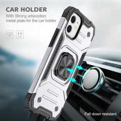 Cube Style Armor Case with Rotating Ring Holder, Kickstand and Magnetic Car Mount Plate for iPhone 12 Pro Max 6.7 (Silver)