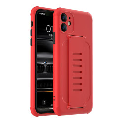 Hand Strap Grip Elastic Slim TPU Protective Case Cover for iPhone 12 / 12 Pro 6.1 (Red)