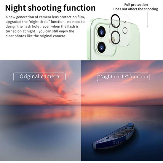 Camera Lens HD Tempered Glass Protector for iPhone 12 Mini 5.4 (Transparent Clear)