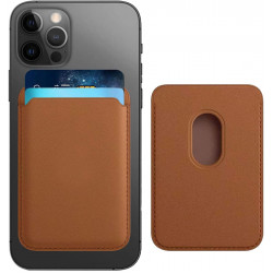 PU Leather Magnetic Card Wallet Pouch Holder for iPhone 12 / 12 Pro / 12 Mini /12 Pro Max (Brown)