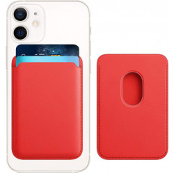 PU Leather Magnetic Card Wallet Pouch Holder for iPhone 12 / 12 Pro / 12 Mini /12 Pro Max (Red)