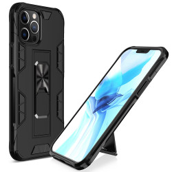 Military Grade Armor Protection Stand Magnetic Feature Case for iPhone 12 Pro Max 6.7 (Black)