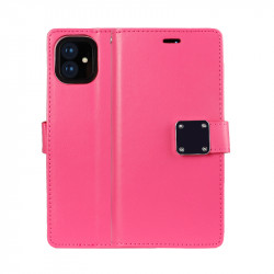Multi Pockets Folio Flip Leather Wallet Case with Strap for iPhone 12 Pro Max 6.7 (Hot Pink)