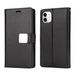 Multi Pockets Folio Flip Leather Wallet Case with Strap for iPhone 12 Pro Max 6.7 (Black)