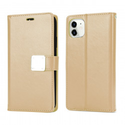 Multi Pockets Folio Flip Leather Wallet Case with Strap for iPhone 12 Pro Max 6.7 (Gold)