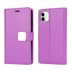 Multi Pockets Folio Flip Leather Wallet Case with Strap for iPhone 12 Pro Max 6.7 (Purple)