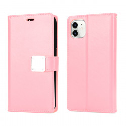 Multi Pockets Folio Flip Leather Wallet Case with Strap for iPhone 12 Pro Max 6.7 (Rose Gold)