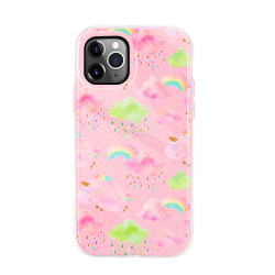 Dual Layer High Impact Protective Hybrid Hard Design Case for iPhone 12 Mini 5.4 (Pink Rainbow)